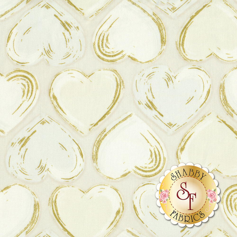 Alternating tonal white and grey hearts with gold metallic highlights | Shabby Fabrics