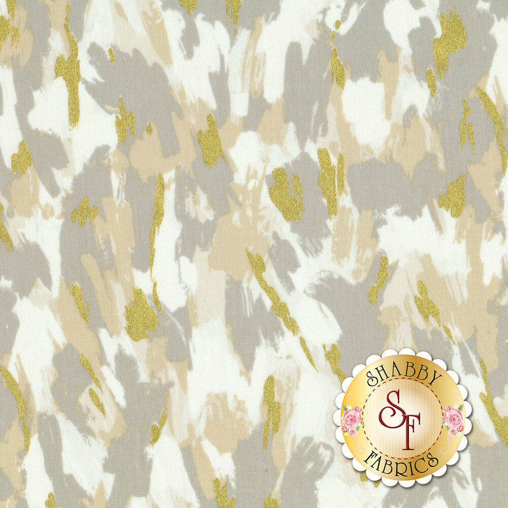 White and grey paint brush strokes all over with gold metallic accents | Shabby Fabrics
