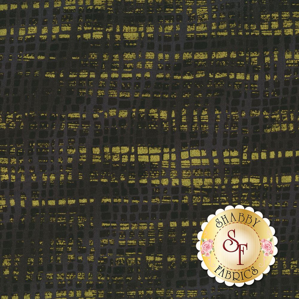 Black and grey textured fabric with gold metallic highlights | Shabby Fabrics