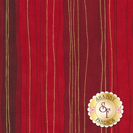 Shiny Objects Holiday Twinkle 3023-5 Sterling Stripe Scarlet by Flaurie & Finch for RJR Fabrics