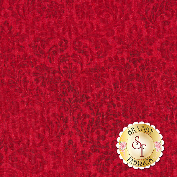 Shiny Objects Holiday Twinkle 3163-2 Dazzling Damask Radiant Ruby by Flaurie & Finch for RJR Fabrics