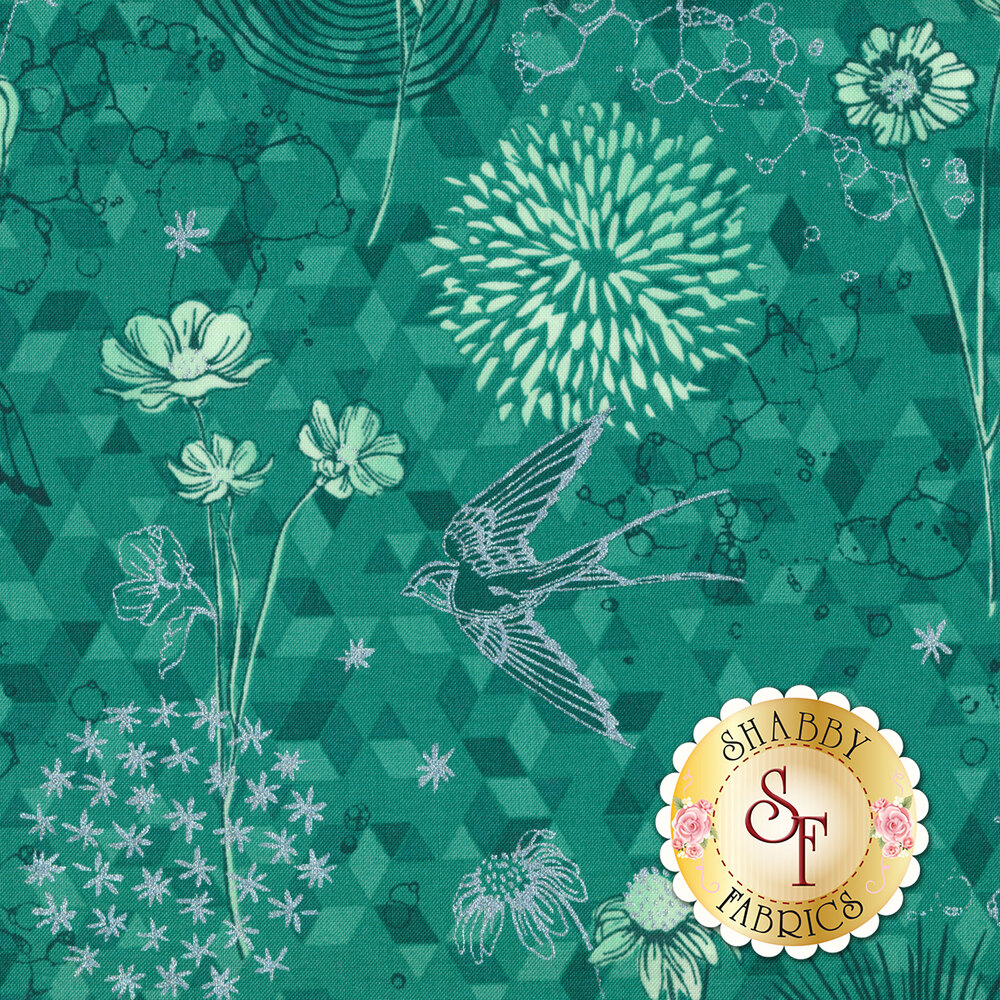 Shiny Objects Sweet Somethings 3529-2 Only In Dreams Mint Leaf by Flaurie & Finch for RJR Fabrics