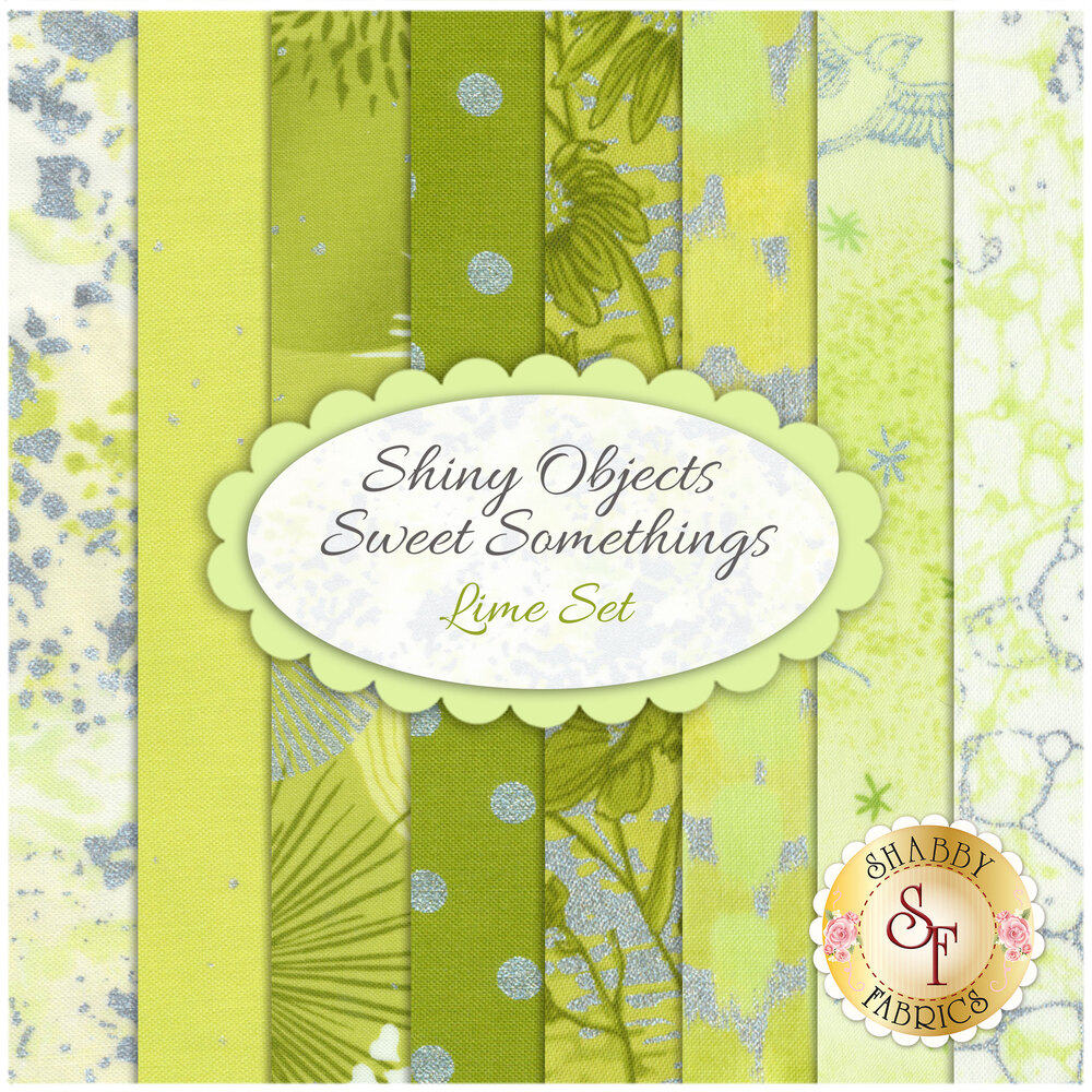 Shiny Objects Sweet Somethings  8 FQ Set - Lime Set by Flaurie & Finch for RJR Fabrics