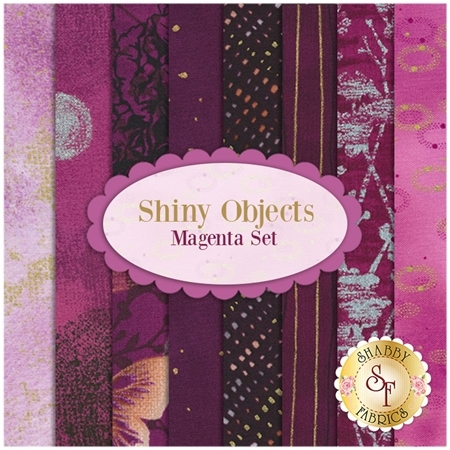 Shiny Objects  8 FQ Set - Magenta Set by Flaurie and Finch for RJR Fabrics