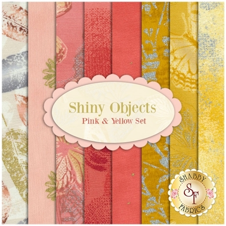 Shiny Objects  8 FQ Set - Pink and Yellow Set by Flaurie and Finch for RJR Fabrics