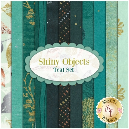 Shiny Objects  11 FQ Set - Teal Set by Flaurie and Finch for RJR Fabrics