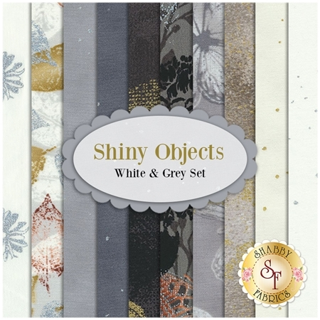 Shiny Objects  10 FQ Set - White and Grey Set by Flaurie and Finch for RJR Fabrics