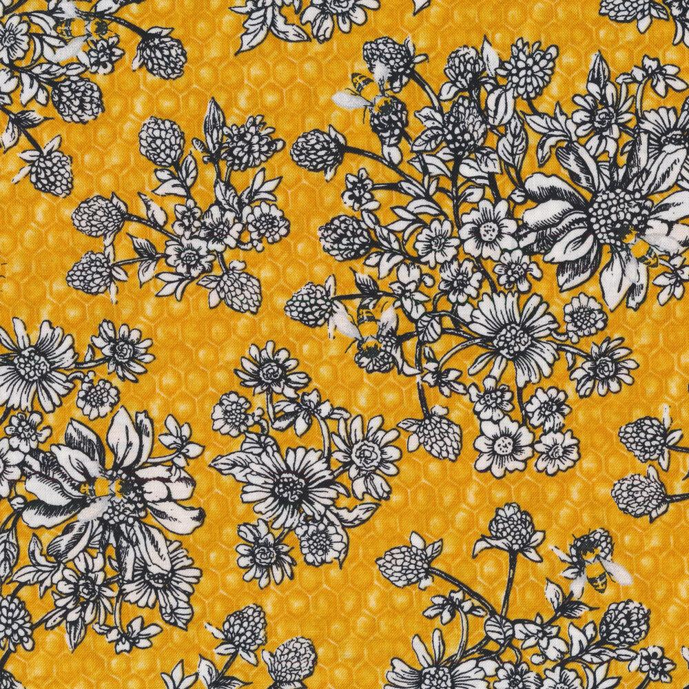 Black and white florals on tonal yellow honeycomb | Shabby Fabrics