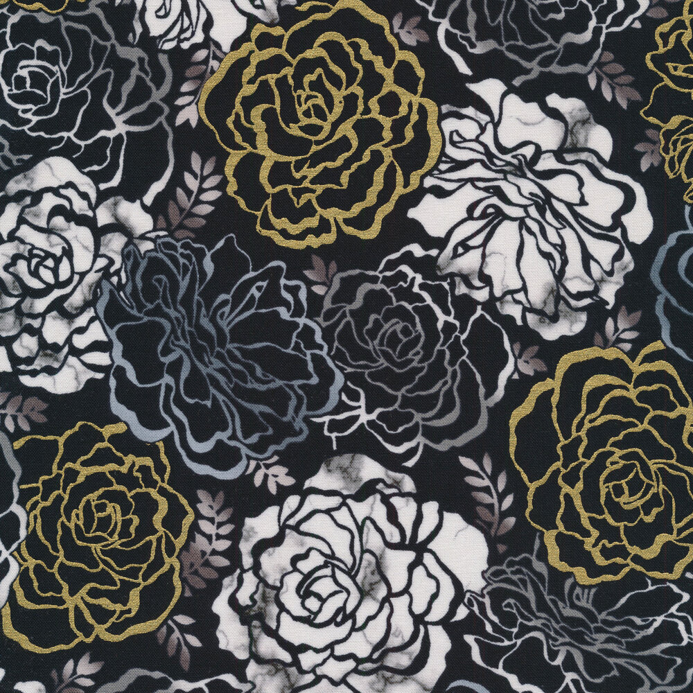 White flowers with gold metallic accents on a black background | Shabby Fabrics