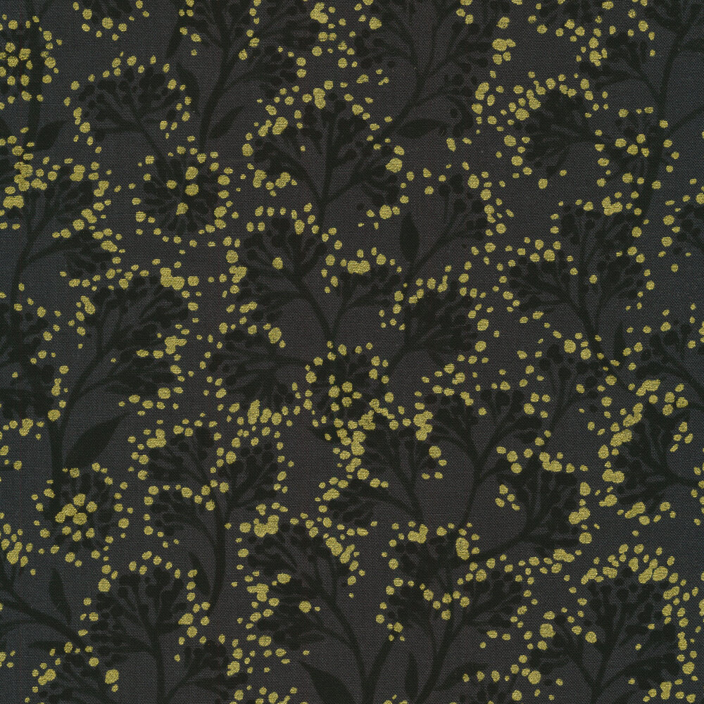 Gray vines with gold metallic spots all over a black background | Shabby Fabrics