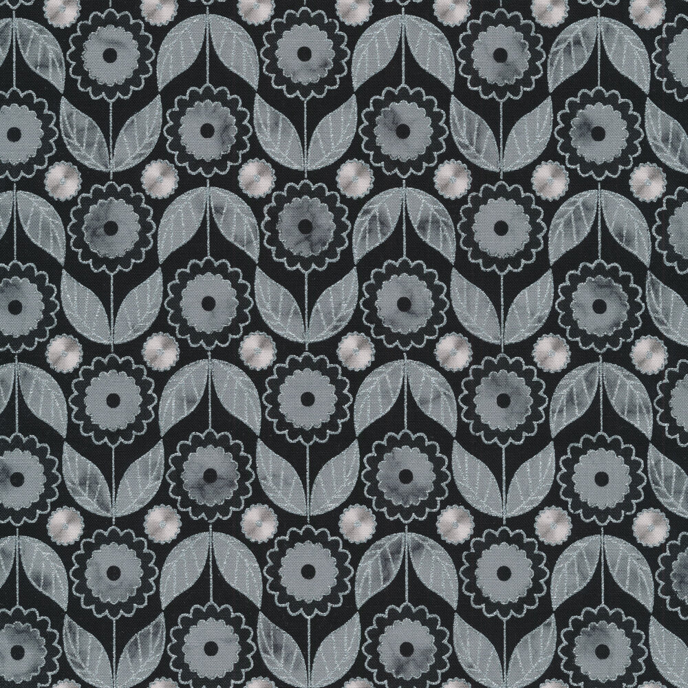 Gray alternating flowers with blue metallic accents on a black background | Shabby Fabrics