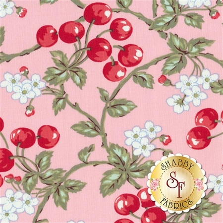 Simply Chic 3813-02 Pink Cherries by Anna Stuart for Benartex Fabrics