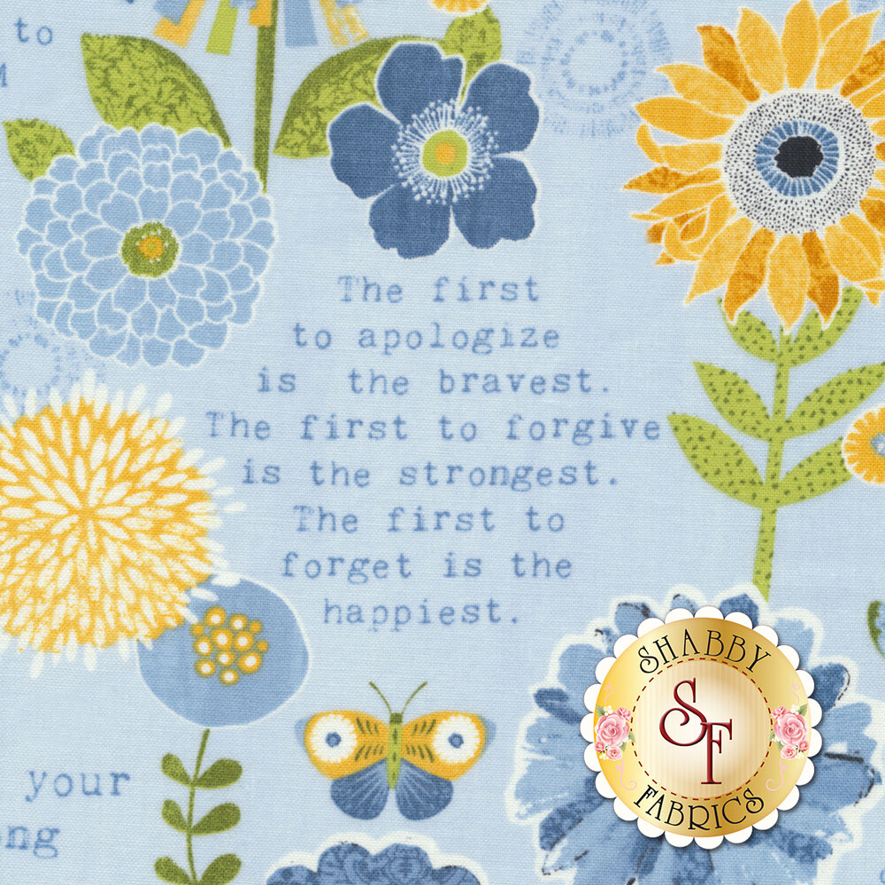 Sing Your Song 68458-445 Flowers & Sentiments Blue by Anne Rowan for Wilmington Prints