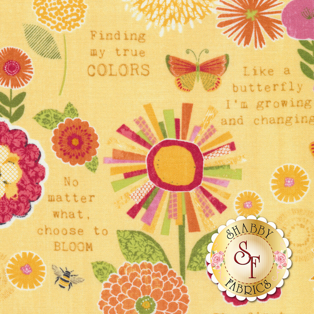 Sing Your Song 68458-535 Flowers & Sentiments Yellow by Anne Rowan for Wilmington Prints