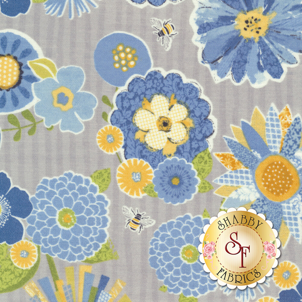 Sing Your Song 68459-947 Packed Floral Gray by Anne Rowan for Wilmington Prints