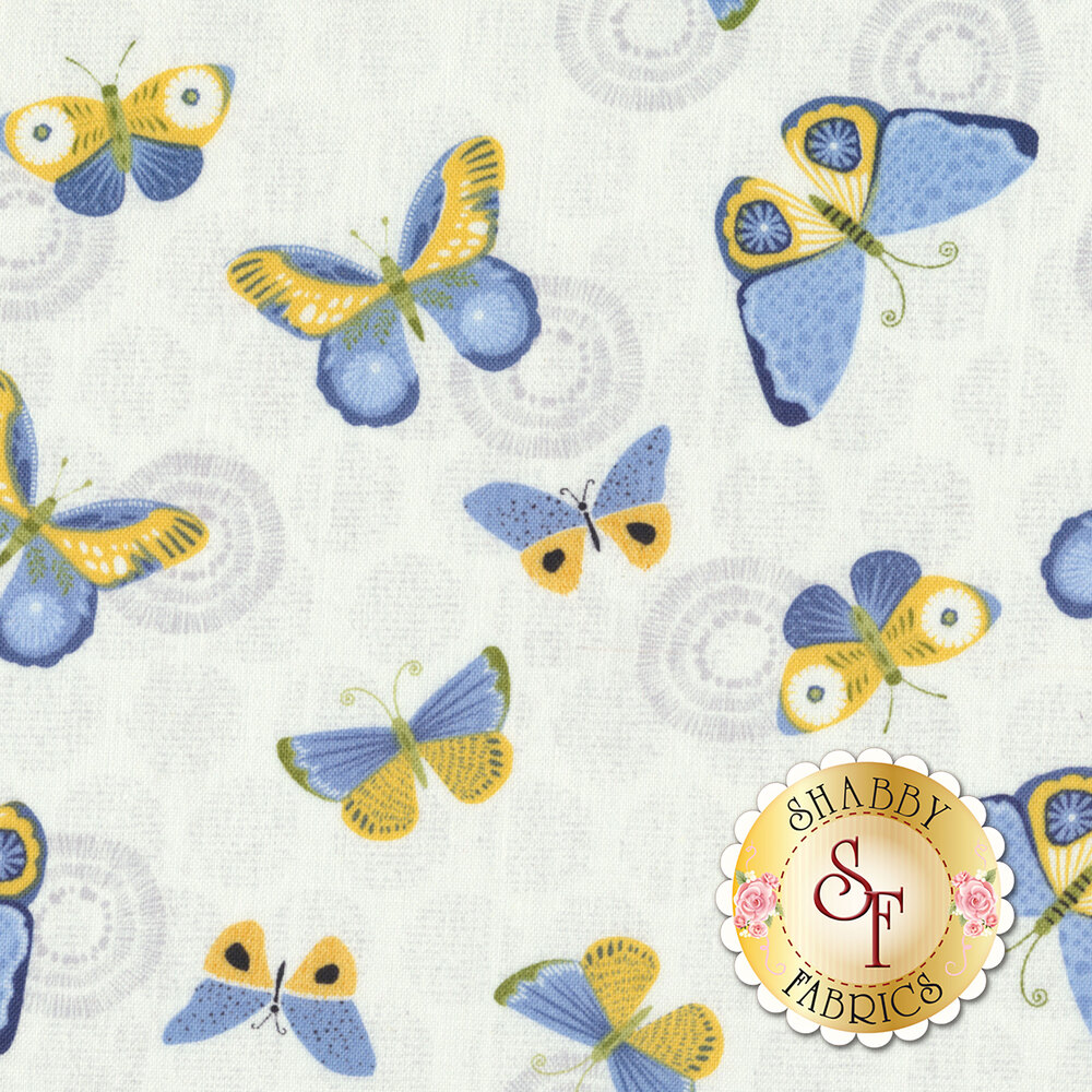 Sing Your Song 68460-145 Butterflies White by Anne Rowan for Wilmington Prints
