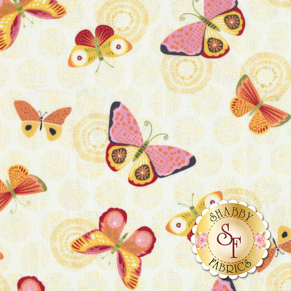 Sing Your Song 68460-535 Butterflies Light Yellow by Anne Rowan for Wilmington Prints