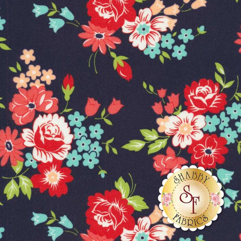 Smitten Bouquet Navy 55171-15 from Moda