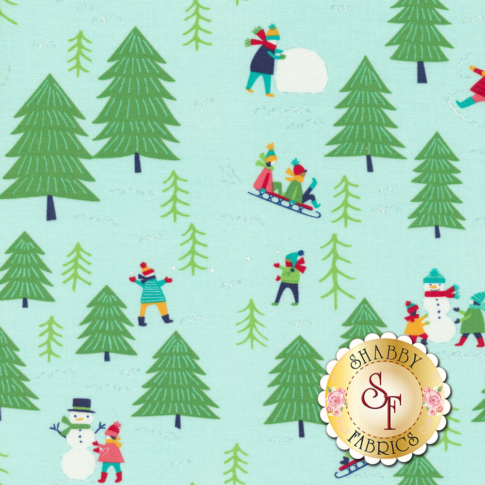 Children building snowmen and sledding on aqua snow scene with green trees   Shabby Fabrics