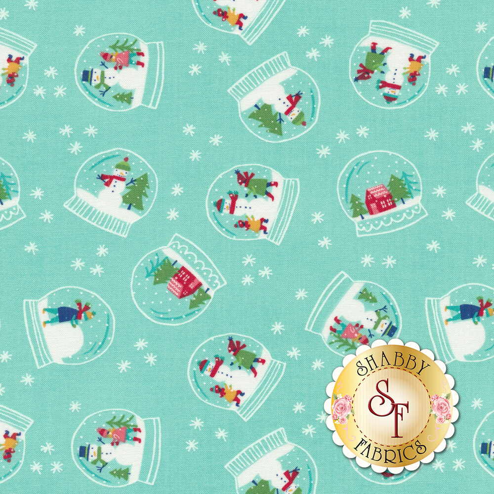Snowmen inside of snowglobes tossed on aqua with tiny white snowflakes - Shabby Fabrics