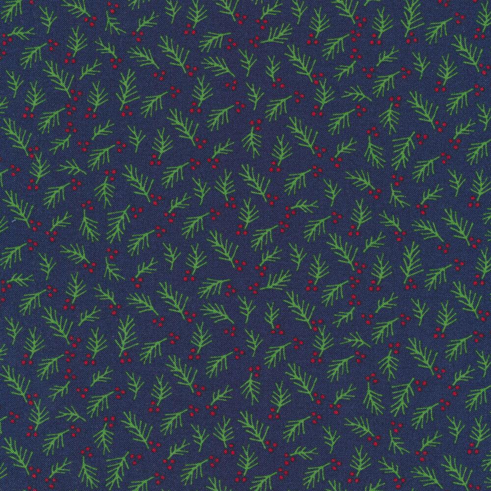 Green sprigs and red berries all over navy blue | Shabby Fabrics