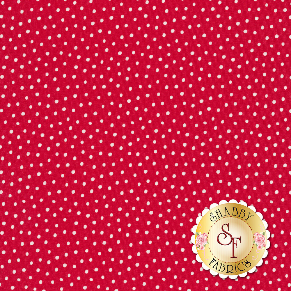White dots all over red | Shabby Fabrics