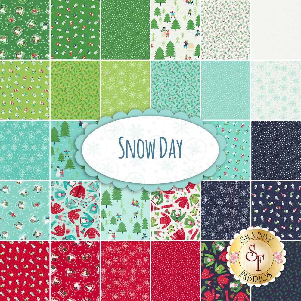 Collage of fabrics in Snow Day FQ Set | Shabby Fabrics