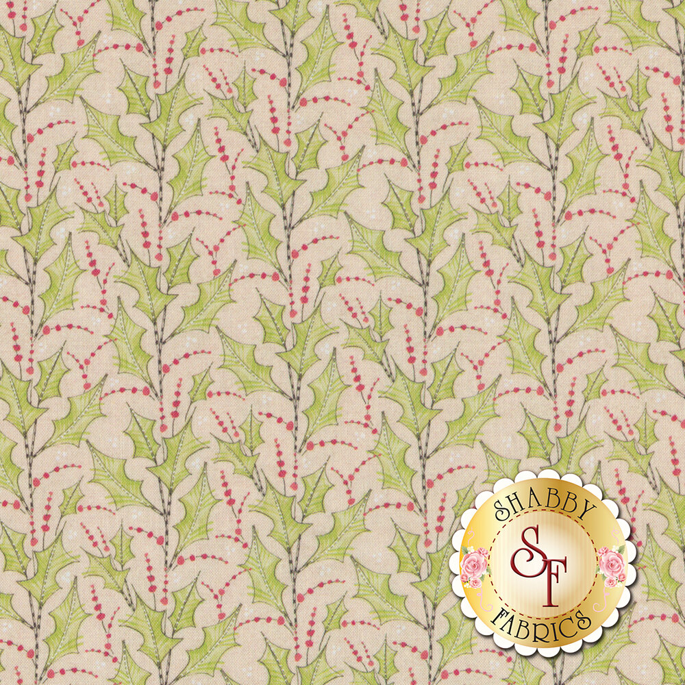 Striped holly and berries on a tan background | Shabby Fabrics