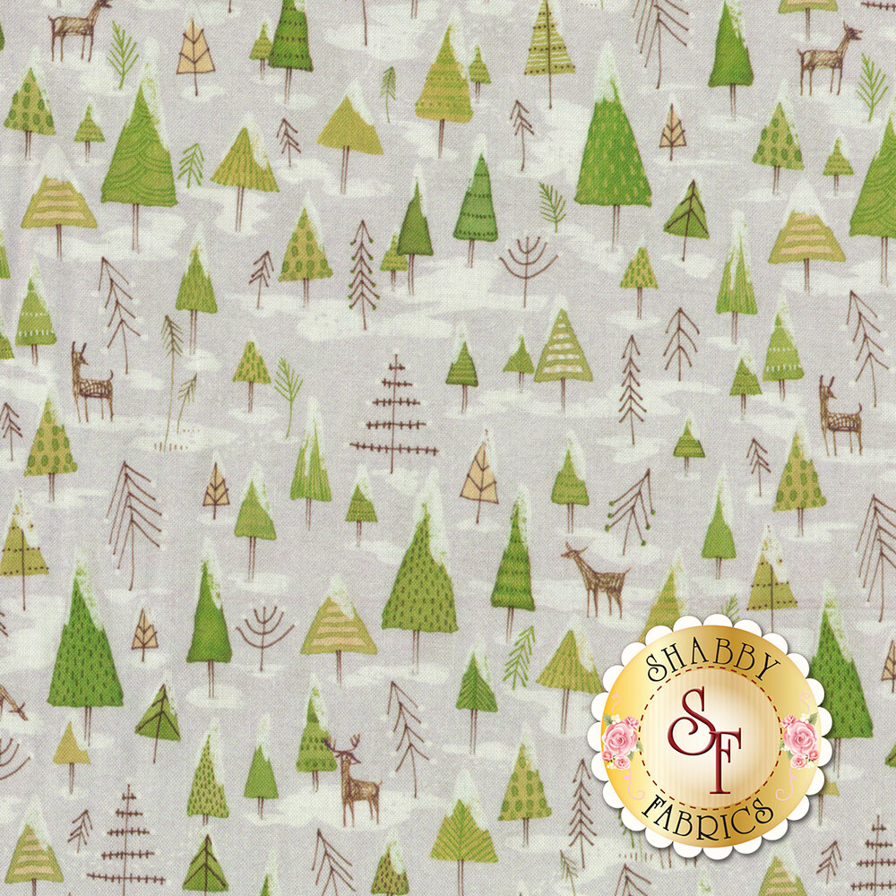 Forest wildlife and snow covered trees on a light grey background | Shabby Fabrics