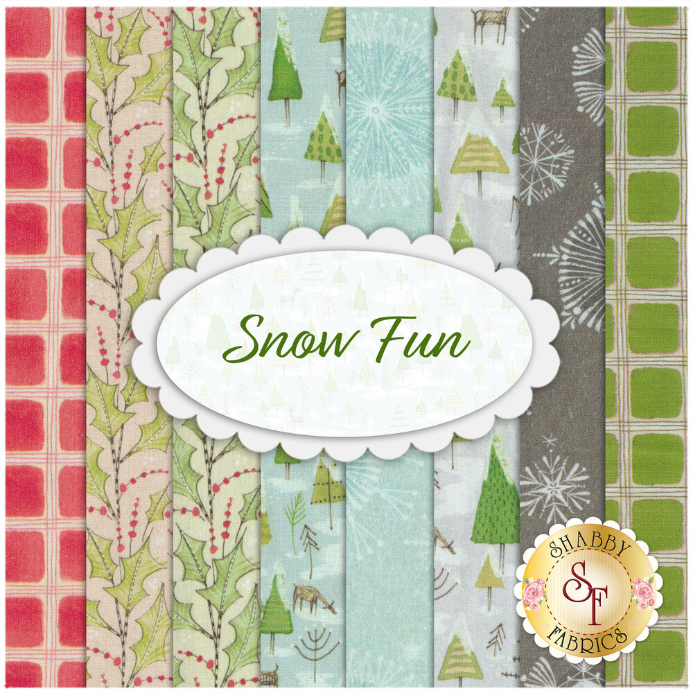 A collage of the 8 fabrics included in the Snow Fun collection | Shabby Fabrics