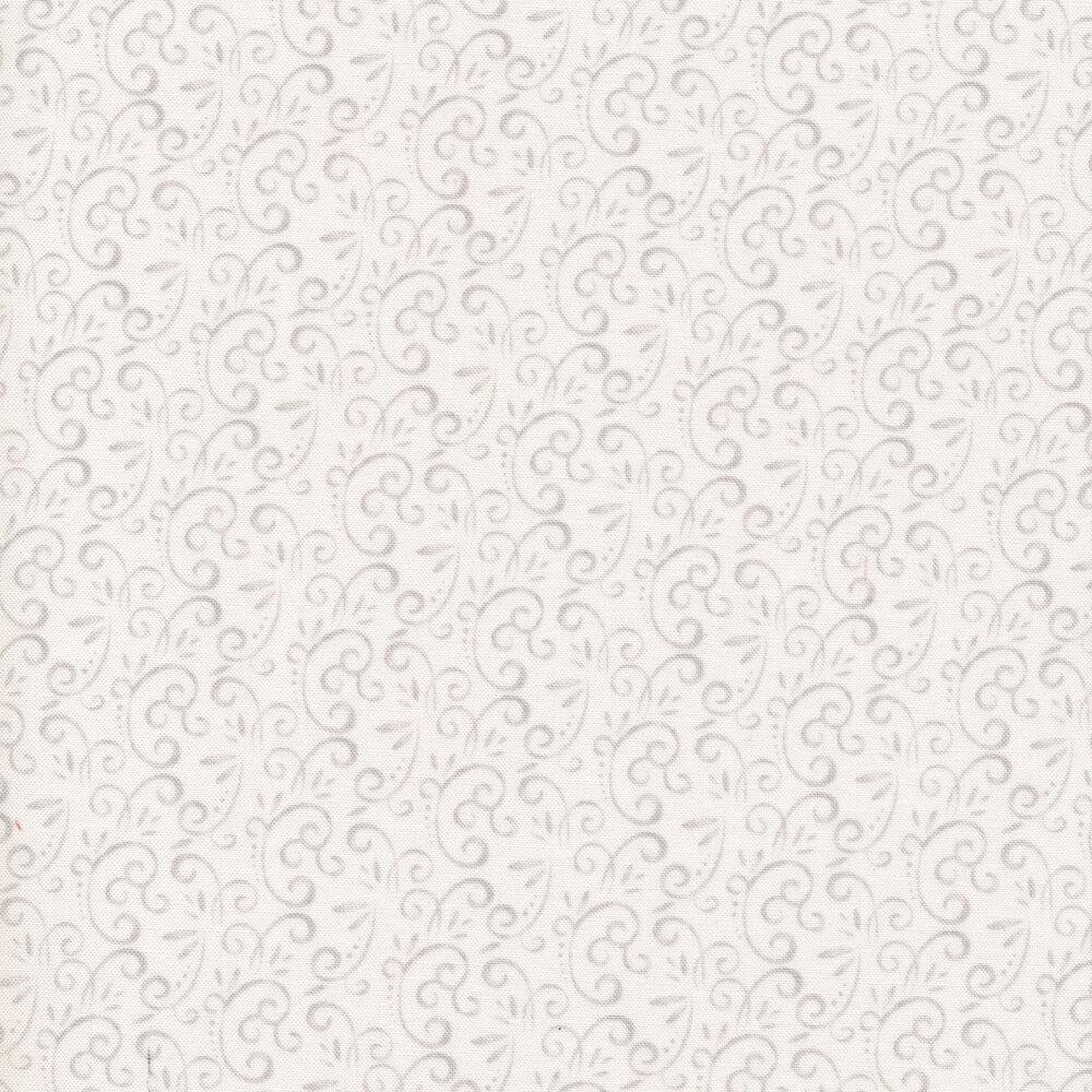 Gray swirls and scrolls on white   Shabby Fabrics