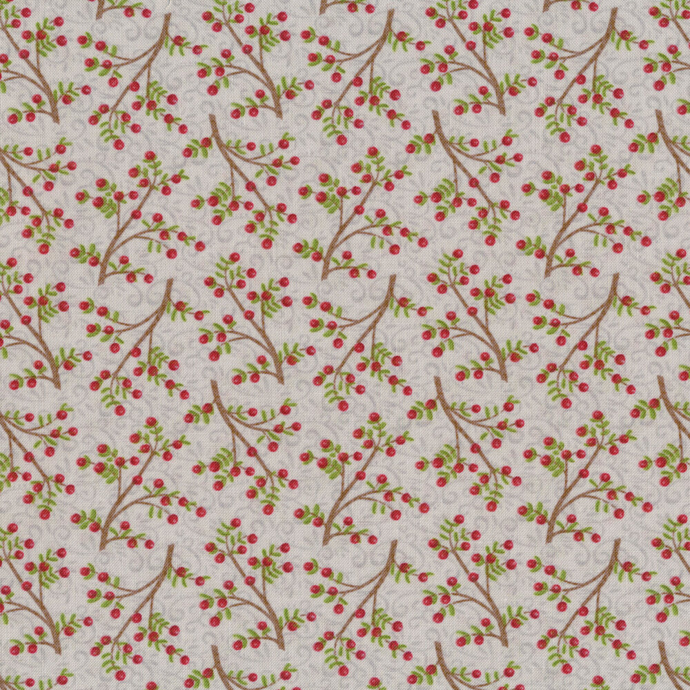 Berries and branches tossed on grey | Shabby Fabrics