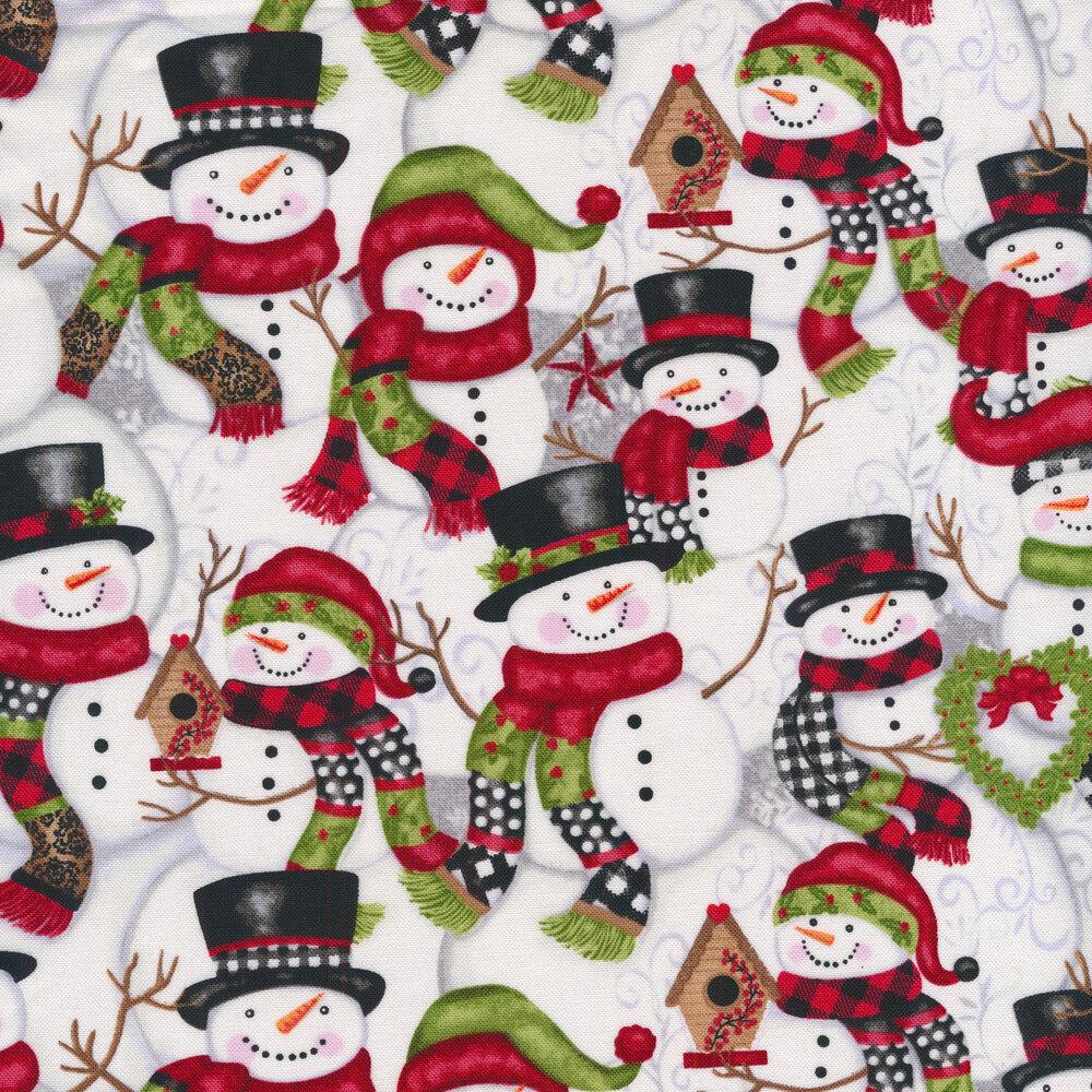 Snowmen packed on gray   Shabby Fabrics