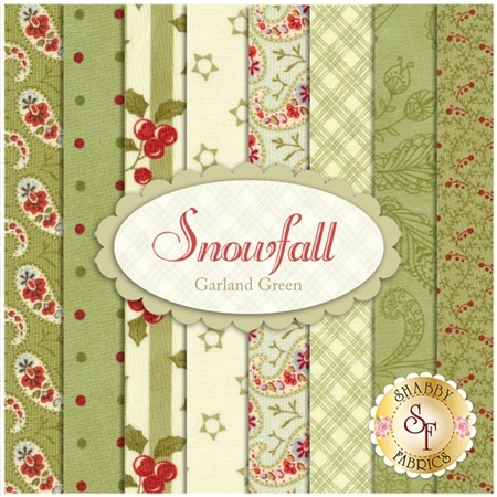 Snowfall  8 FQ Set - Garland Green Set by Minick and Simpson for Moda Fabrics