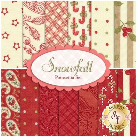 Snowfall  13 FQ Set - Poinsettia Set by Minick and Simpson for Moda Fabrics