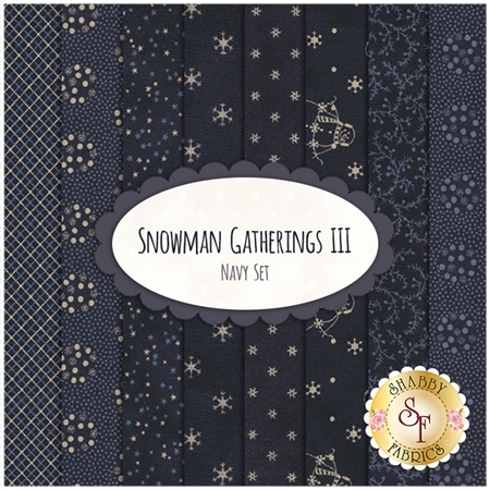 Snowman Gatherings III  8 FQ Set - Navy Set by Primitive Gatherings for Moda Fabrics
