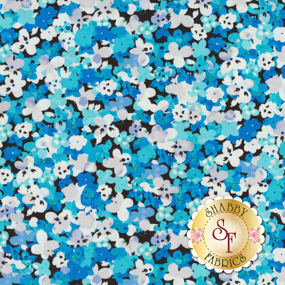 Small blue/teal/white flowers packed on black | Shabby Fabrics