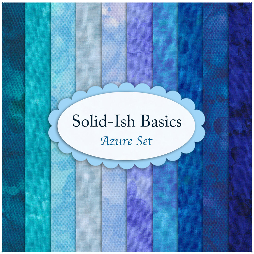 A collage of the fabrics included in the Solid-Ish Basics - Azure FQ Set | Shabby Fabrics
