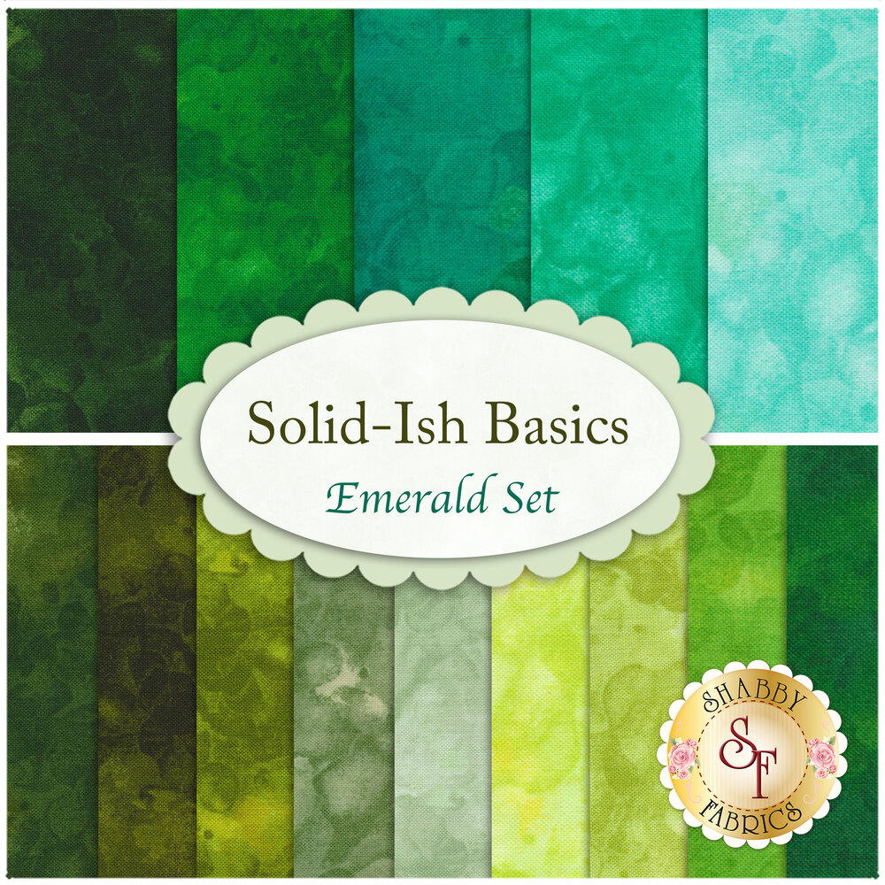 A collage of the fabrics included in the Solid-Ish Basics - Emerald FQ Set | Shabby Fabrics