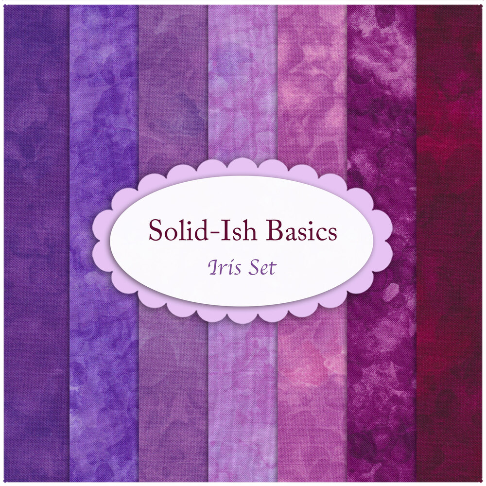 A collage of the fabrics included in the Solid-Ish Basics - Iris FQ Set | Shabby Fabrics