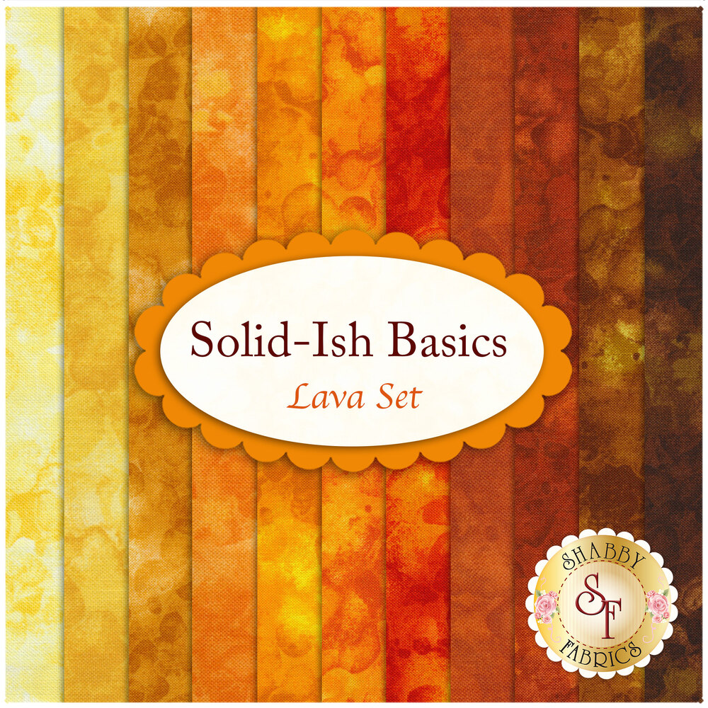 A collage of the fabrics included in the Solid-Ish Basics - Lava FQ Set | Shabby Fabrics
