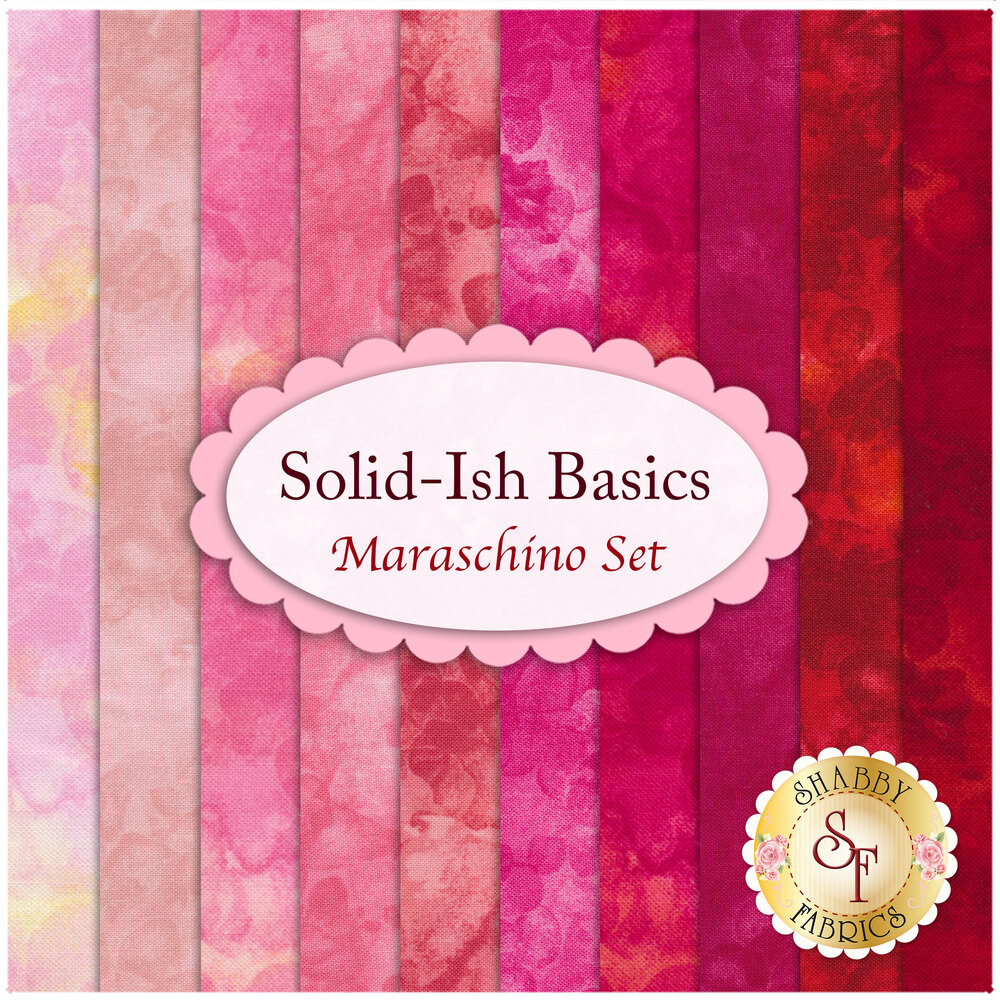A collage of the fabrics included in the Solid-Ish Basics - Maraschino FQ Set | Shabby Fabrics
