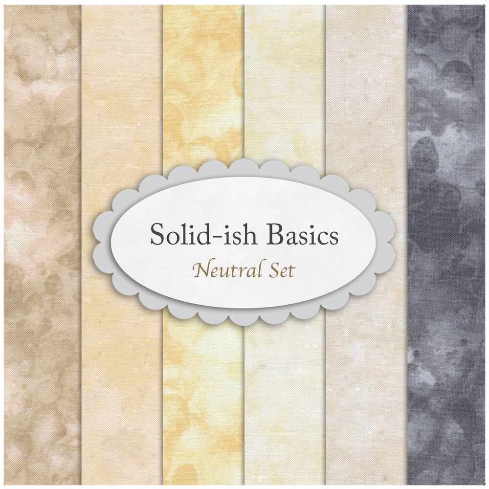A collage of the fabrics included in the Solid-Ish Basics - Neutral FQ Set | Shabby Fabrics