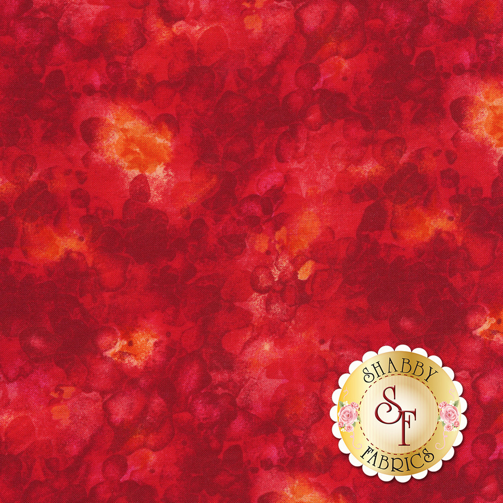 Bright red mottled and marbled basics fabric | Shabby Fabrics