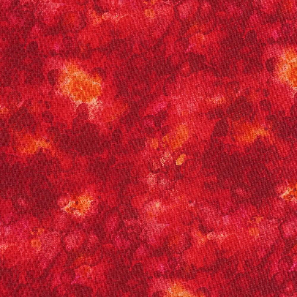 Bright red mottled and marbled basics fabric | Shabby Fabrics