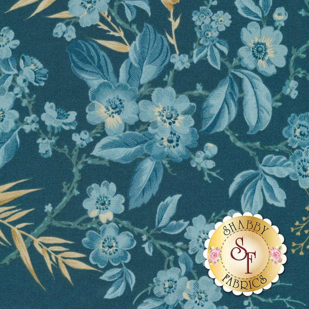 Something Blue 8822-B Dark Blue Bouquet by Edyta Sitar from Andover Fabrics