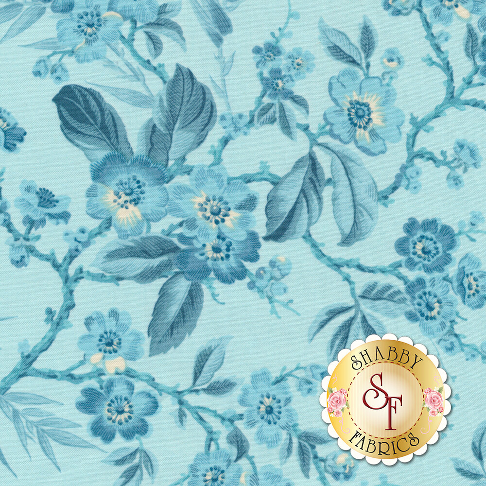 Something Blue 8822-W Light Blue Bouquet by Edyta Sitar from Andover Fabrics
