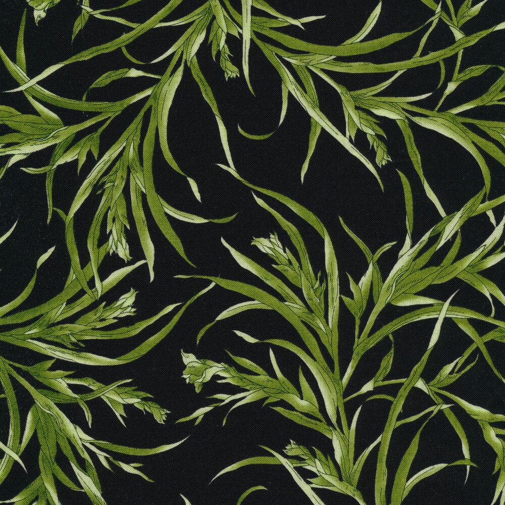 Leaves on a black background | Shabby Fabrics