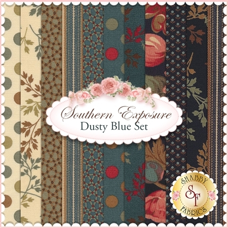Southern Exposure  11 FQ Set - Dusty Blue Set by Laundry Basket Quilts for Moda Fabrics