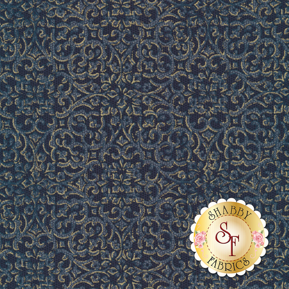 Navy intricate floral design with metallic details | Shabby Fabrics